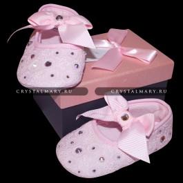 Первая детская обувь: Пинетки со стразами Swarovski (Австрия)  www.crystalmary.ru