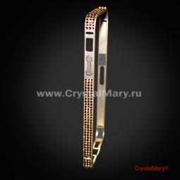 Золотой бампер на iPhone 5/5S с кристаллами Swarovski (Австрия)