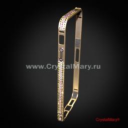 Золотой металлический бампер на iPhone 5/5S с кристаллами Swarovski (АВСТРИЯ)