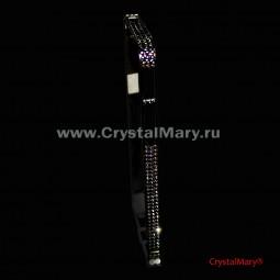 Черный металлический бампер для iPhone с черными кристаллами Сваровски