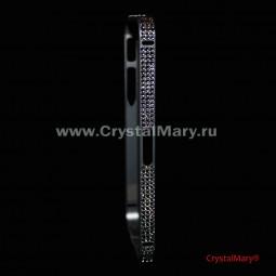 Металлический бампер на iPhone серый с кристаллами Сваровски (Австрия)