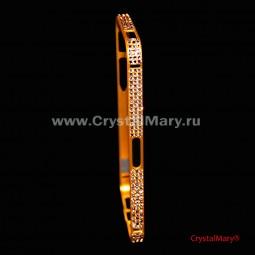 Золотой бампер на айфон с кристаллами Swarovski