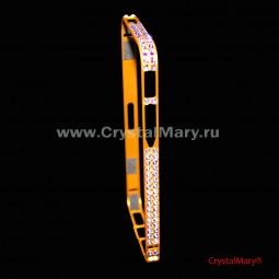 Золотой бампер на айфон с крупными радужными кристаллами Swarovski