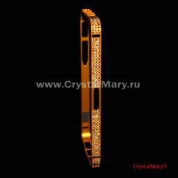 Бампер защитный на iPhone золотой с кристаллами Сваровски (Австрия)