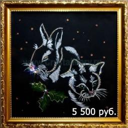 Кролик и Кот - символ удачи из кристаллов Сваровски
