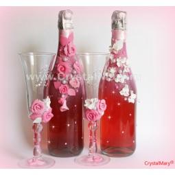 Декор бутылок цветами