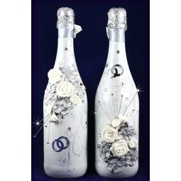Свадебные бутылки в серебре