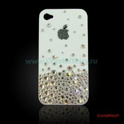 Чехол для iPhone 4 белый с кристаллами Swarovski