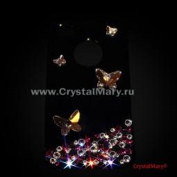 Бабочки и россыпь кристаллов Swarovski на черном