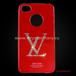Чехол SGP для iPhone 4 красный Louis Vuitton