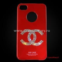 SGP для iPhone 4G красная с логотипом Chanel