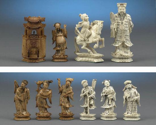 резные китайские шахматы из слоновой кости