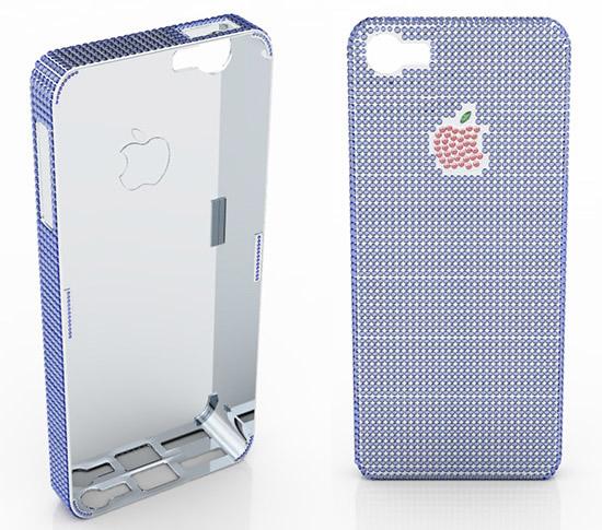 чехол на телефон iPhone5 с сапфирами