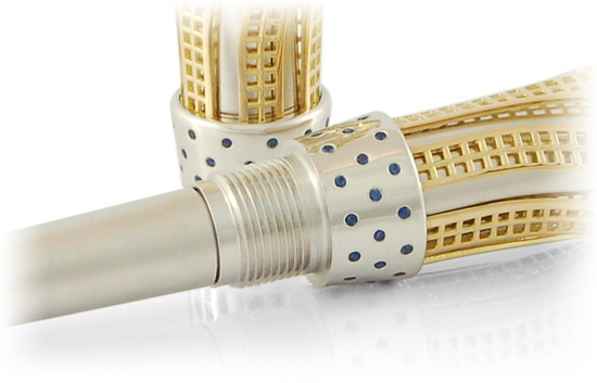 золотые перьевые ручки с сапфиром и бриллиантами