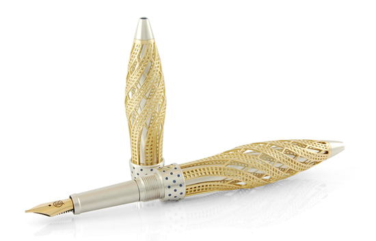 золотая ручка с сапфирами