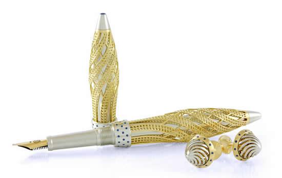золотая ручка с сапфиром